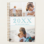 """Blue &amp; White Photo Collage Planner<br><div class=""""desc"""">A planner to which you can add three of your own photos to a minimalist collage in white and blue. Add the year in large blue numbers,  and add your name or family name too!</div>"""