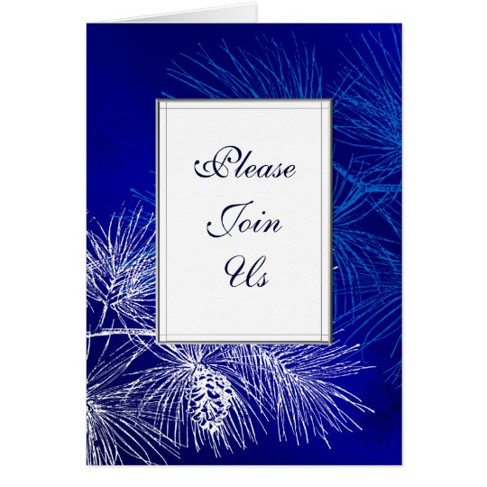 Blue White Pine Custom Folded Holiday Invitation