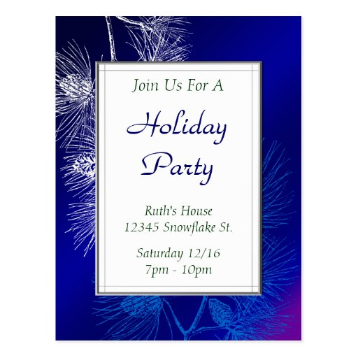 Blue White Pine Custom Holiday Party Postcard