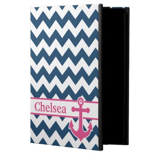 Blue White Pink Chevron Anchor Name iPad Air Case