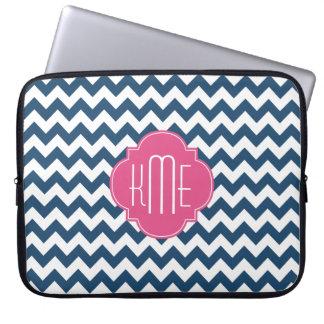 Blue White Pink Chevron Quatrefoil Monogram Laptop Computer Sleeves