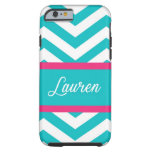 Blue, White, & Pink Chevron Stripe Tough iPhone 6 Case