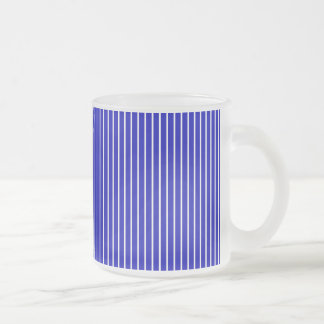Blue White Pinstripe Frosted Glass Coffee Mug