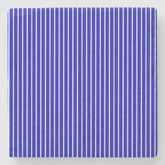 Blue White Pinstripe Stone Coaster