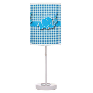 Blue & White Plaid Baby Elephant Design Table Lamps