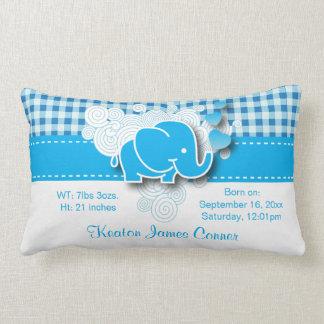 Blue & White Plaid Baby Elephant Design Pillows