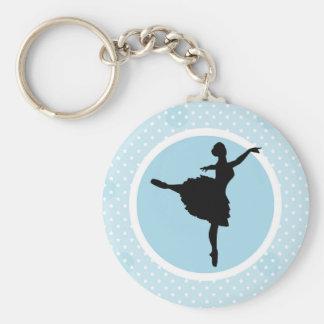 Blue White Polka Dot Ballerina Dancer Silhouette Basic Round Button Keychain