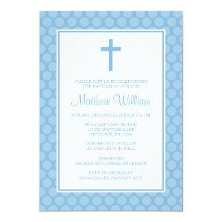 Blue White Polka Dot Cross Boy Baptism Christening 5x7 Paper Invitation Card