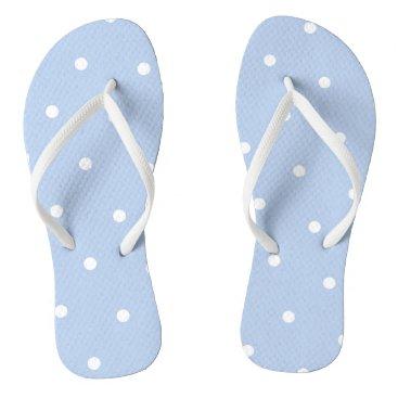 Beach Themed Blue/White Polka Dot Flip Flops