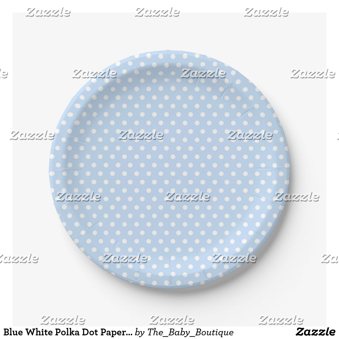 Blue White Polka Dot Paper Plates