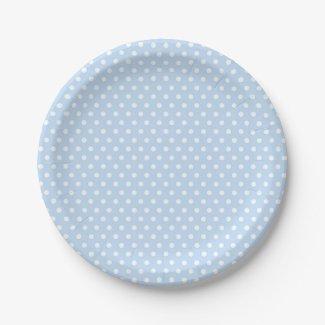 Blue White Polka Dot Paper Plates