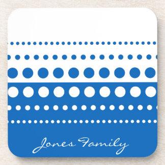 Blue White Polka Dot Pattern Beverage Coaster