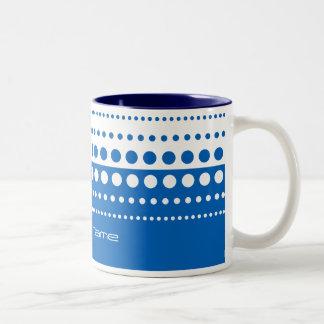 Blue White Polka Dot Pattern Two-Tone Coffee Mug