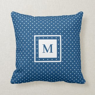 Blue White Polka Dot Pattern with Modern Monogram Throw Pillow