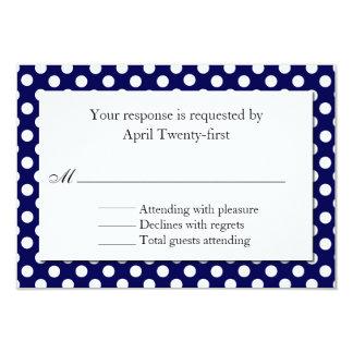 Blue & White Polka Dot Wedding RSVP Card