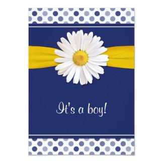Blue White Polka Dots Daisy Baby Shower Invitation