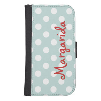 Blue White Polka Dots Personalized Name Vertical Galaxy S4 Wallet