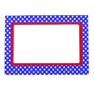 Blue & White Polka Dots- Red Accent Magnetic Picture Frame
