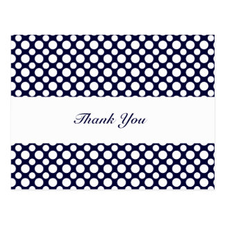 Blue White Polka-Dots Thank You Postcard
