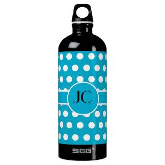 Blue White Polka Dots Water Bottle