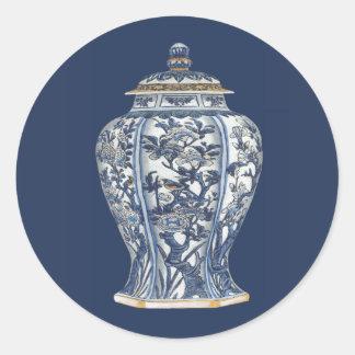 Blue & White Porcelain Vase by Vision Studio Classic Round Sticker