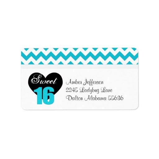 Blue & White Print Sweet 16 Address Labels
