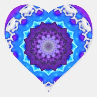 Blue White Purple Kaleidoscope Mandala Heart Stickers