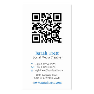 Blue white qr code image media business card