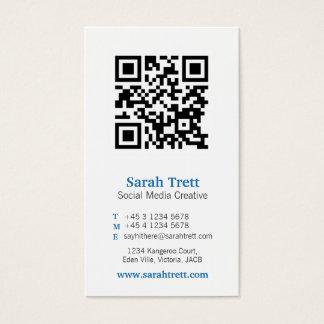 Blue white qr code image media business card