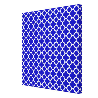 Blue White Quatrefoil Canvas Print