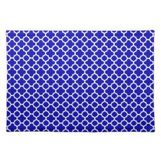 Blue White Quatrefoil Cloth Placemat