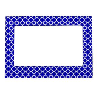 Blue White Quatrefoil Magnetic Picture Frame