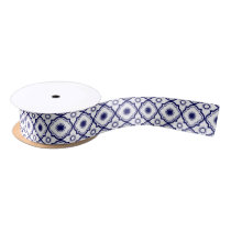 Blue & White Quatrefoil Pattern Satin Ribbon