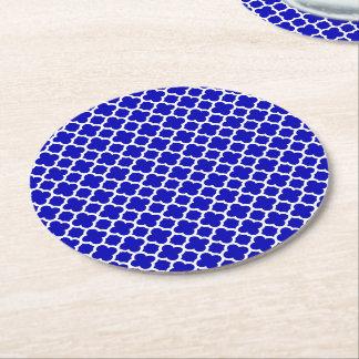 Blue White Quatrefoil Round Paper Coaster