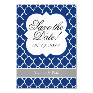 Blue White Quatrefoil Save The Date Magnet
