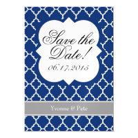 Blue White Quatrefoil Save The Date Magnet Magnetic Card (<em>$3.35</em>)