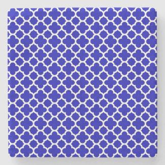 Blue White Quatrefoil Stone Coaster