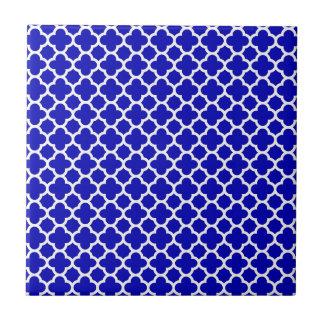 Blue White Quatrefoil Tile