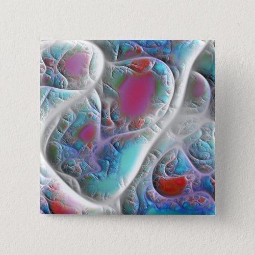 Blue & White Quilt - Magenta & Aqua Delight Button