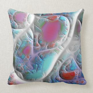 Blue & White Quilt - Magenta & Aqua Delight Throw Pillow