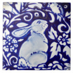 "Blue &amp; White Rabbit Bird Floral Dedham Tile Trivet<br><div class=""desc"">This detail from one of my original,  copyrighted ceramic plates is reinterpreted as a 6&quot; quality tile trivet.</div>"