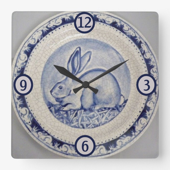 NOVELTY WALL CLOCK Bunny Rabbits and Butterfly Design Childrens Wall Clock