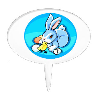 blue white rabbit chick blue background graphic.pn cake topper