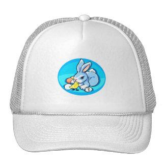 blue white rabbit chick blue background graphic.pn trucker hat