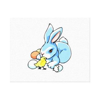 blue white rabbit chick.png canvas print