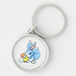 blue white rabbit chick.png keychain