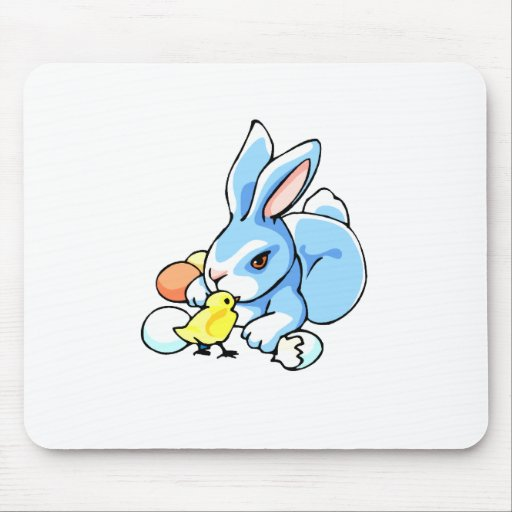 blue white rabbit chick.png mouse pad