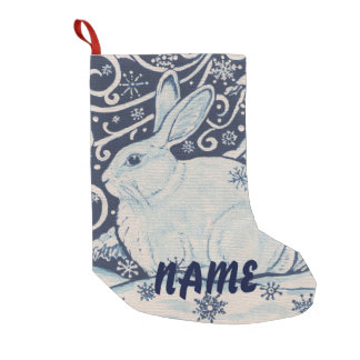 Blue & White Rabbit Christmas Stocking Personalize