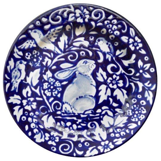 Blue Amp White Rabbit Floral Pretty Porcelain Plate Zazzle Com