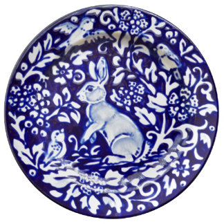 Blue & White Rabbit Floral Pretty Porcelain Plate